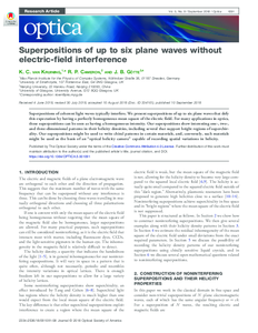 Noninterfering superpositions of up to six plane waves